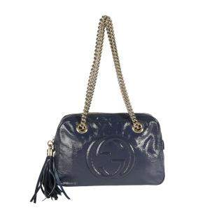 Gucci Blue Patent Leather Small Soho Shoulder Bag