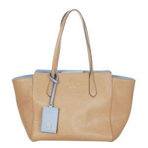 Gucci Brown Calf Leather Swing Tote Bag