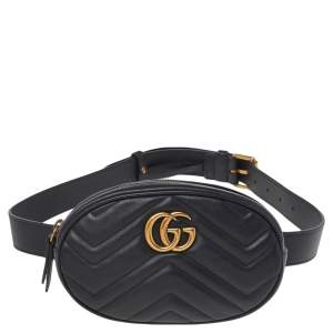 حقيبة حزام غوتشي مارمونت GG جلد ماتيلاس أسود