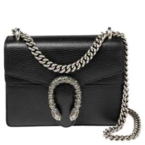 Gucci Black Leather Mini Dionysus Shoulder Bag