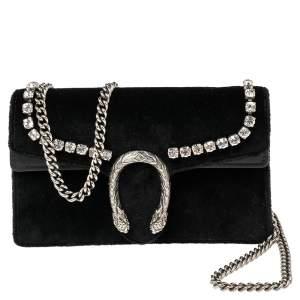 Gucci Black Velvet and Leather Super Mini Crystal Dionysus Crossbody Bag