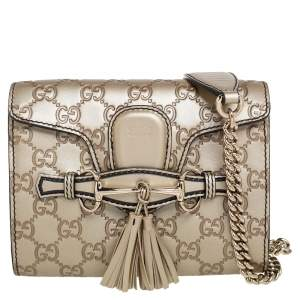 Gucci Metallic Beige Guccissima Leather Mini Emily Shoulder Bag