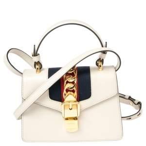 Gucci Off-White Leather Mini Web Sylvie Top Handle Bag
