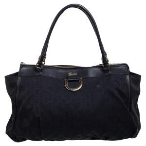 Gucci Black GG Canvas and Leather Leather Abbey D-ring Tote
