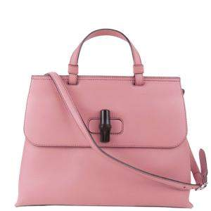 Gucci Pink Leather Bamboo Daily Satchel Bag