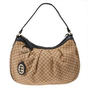 Gucci Beige/Black Diamante Canvas And Leather Medium Sukey Hobo