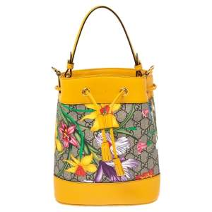 Gucci Yellow Flora GG Supreme and Leather Small Ophidia Bucket Bag