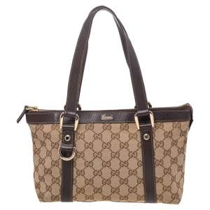 Gucci Beige GG Canvas And Leather Tote