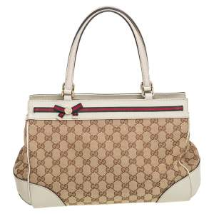 Gucci Beige/Grey GG Canvas and Leather Medium Mayfair Bow Tote