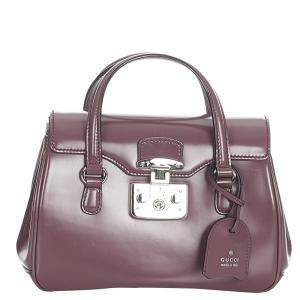 Gucci Bordeau Leather Lady Lock Top Handle Bag