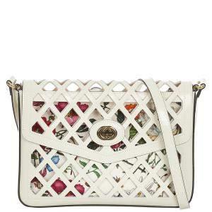 Gucci White Calf Leather Traforata Cutout Flora Shoulder Bag