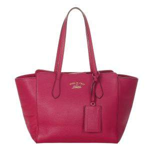 Gucci Pink Calf Leather Swing Tote Bag