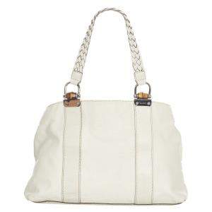 Gucci White Leather Barided Handle Bamboo Bar Tote Bag