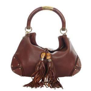 Gucci Brown Leather Bamboo Babouska Indy Bag
