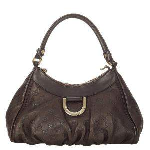 Gucci Brown Guccissima Leather Abbey D-Ring Shoulder Bag