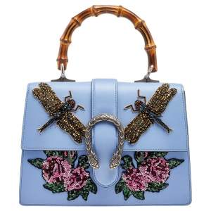 Gucci Blue Leather Embroidered Medium Dionysus Bamboo Top Handle Bag
