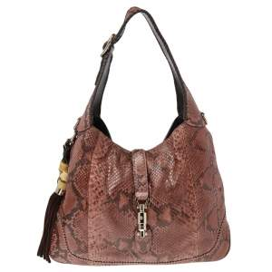 Gucci Multicolor Python and Leather Medium Jackie Hobo