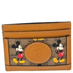 Gucci x Disney Tan GG Supreme and Leather Mickey Mouse Card Holder