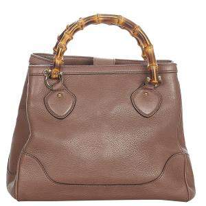Gucci Brown Leather Bamboo Diana Bag