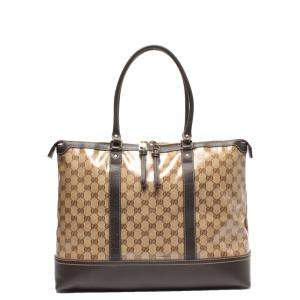 Gucci Brown Coated Canvas Tote Bag