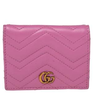 Gucci Pink Matelassé Leather GG Marmont Card Case