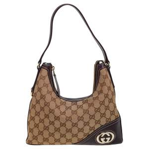 Gucci Brown/Beige GG Canvas and Leather Trim Small New Britt Hobo