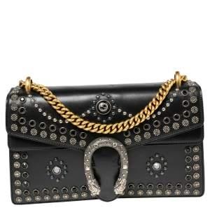 Gucci Black Leather Small Dionysus Embellished Shoulder Bag