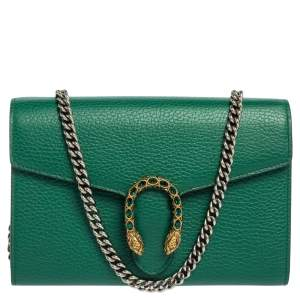 Gucci Green Leather Dionysus Wallet On Chain
