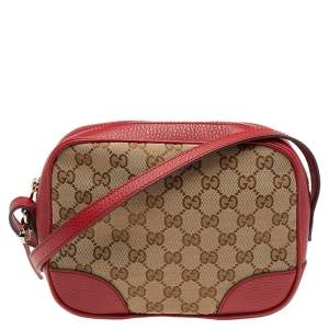 Gucci Beige/Red GG Canvas and Leather Bree Crossbody Bag