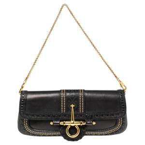 Gucci Black Studded Leather Snaffle Bit Chain Clutch