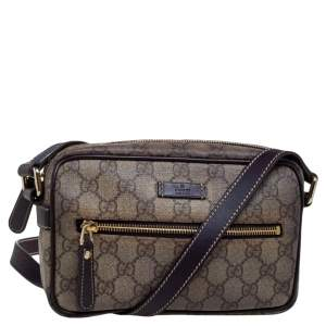 Gucci Brown/Beige GG Supreme and Leather Trim Front Zip Camera Bag