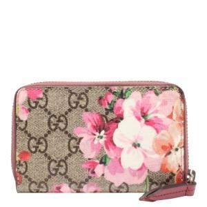 Gucci Beige Canvas GG Blooms Wallet