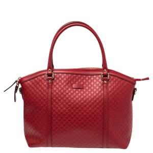 Gucci Red Microguccissima Leather Dome Satchel