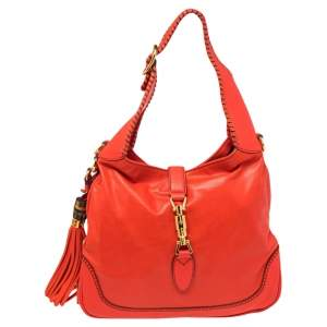 Gucci Red Leather Small New Jackie Hobo