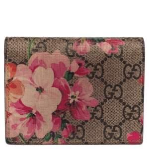 Gucci Pink/Beige GG Supreme Blooms Card Case