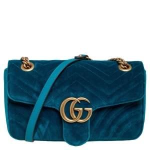 Gucci Green Matelassé Velvet Small GG Marmont Shoulder Bag