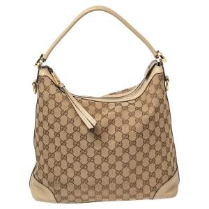 Gucci Beige GG Canvas and Leather Miss GG Hobo