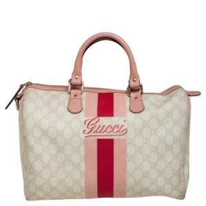 Gucci Cream GG Supreme Canvas Medium Web Joy Boston Bag