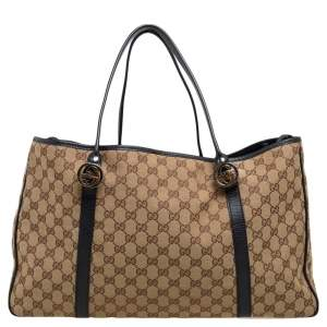 Gucci Black/Beige GG Canvas and Leather GG Twin Tote