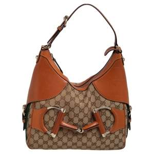 Gucci Brown/Beige GG Canvas and Leather Horsebit Heritage Hobo