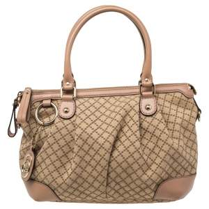 Gucci Brown/Beige Diamante Canvas And Leather Sukey Satchel