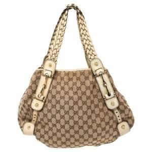 Gucci Beige/Brown GG Canvas and Leather Medium Pelham Shoulder Bag