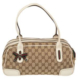 Gucci Beige/Off White GG Canvas and Leather Princy Boston Bag