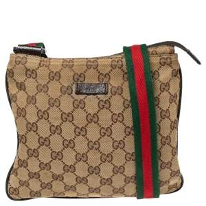 Gucci Beige/Brown GG Canvas And Leather Small Flat Web Messenger Bag
