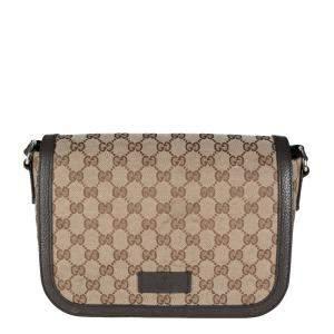 Gucci Brown/Beige GG Canvas Messenger Bag