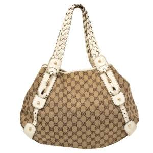 Gucci White/Beige GG Canvas and Leather Pelham Tote