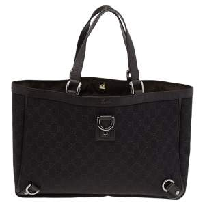 Gucci Dark Brown GG Canvas and Leather Abbey D-Ring Tote