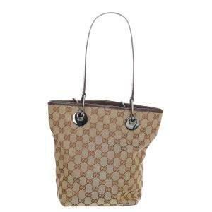 Gucci Brown/Beige Canvas Leather Fabric Eclipse Tote Bag
