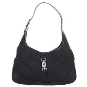 Gucci Black Canvas/Leather Jackie Hobo Bag
