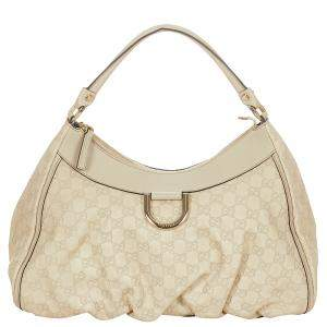 Gucci White Guccissima Leather Abbey D-Ring Hobo Bag